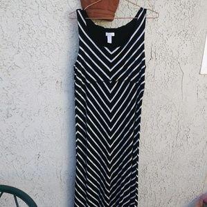 CHICOS B&W stripe maxi dress